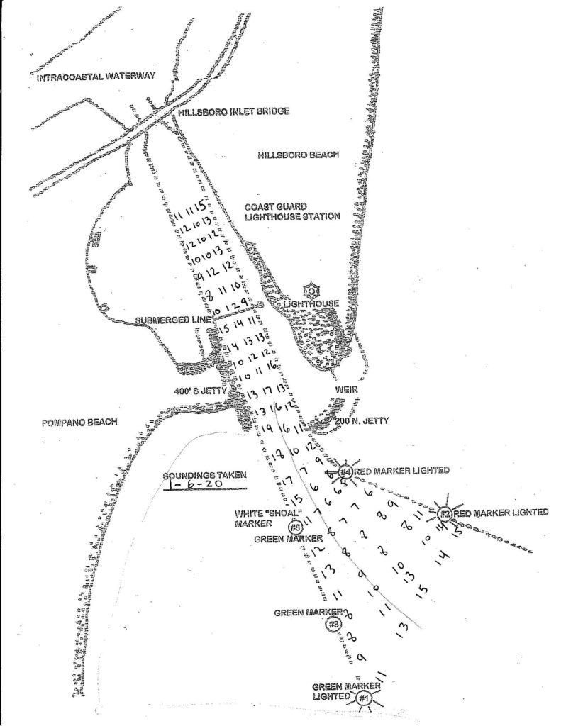 Depth soundings taken from Hillsboro Inlet on January 6, 2020. Do not use for navigation.