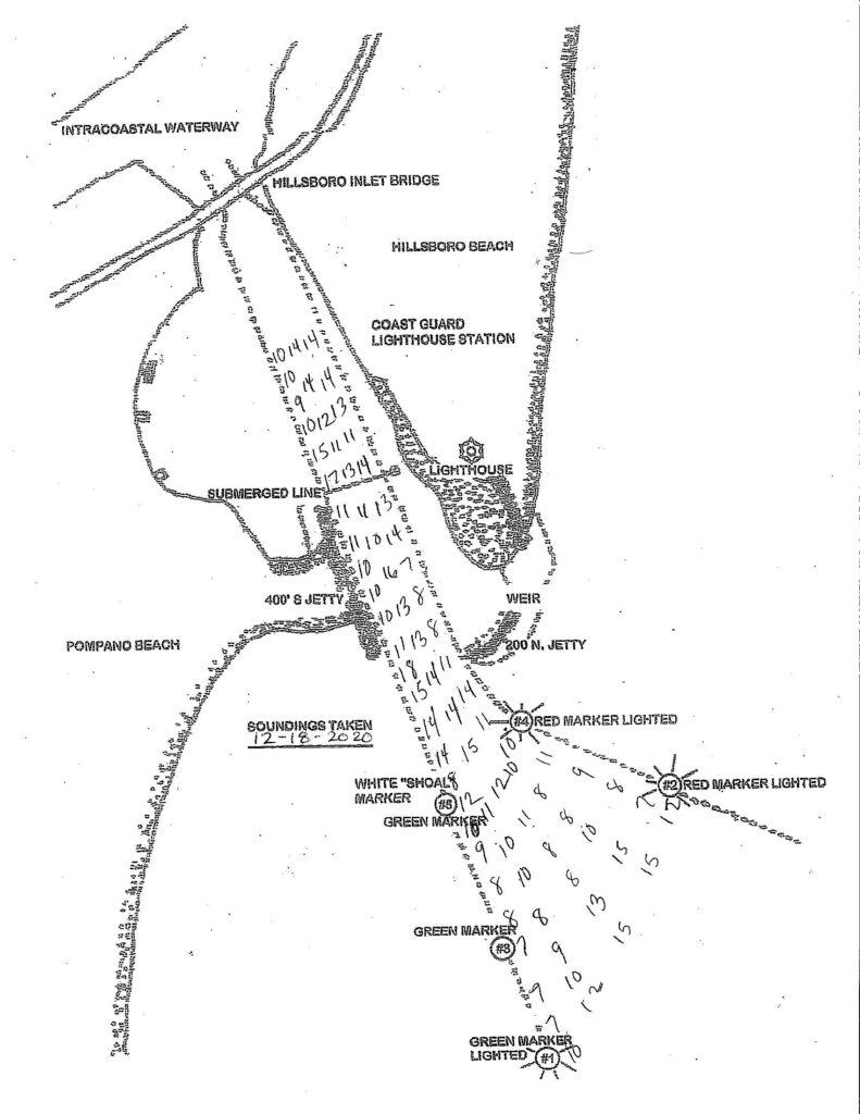 Depth soundings taken from Hillsboro Inlet on December 18, 2020. Do not use for navigation.