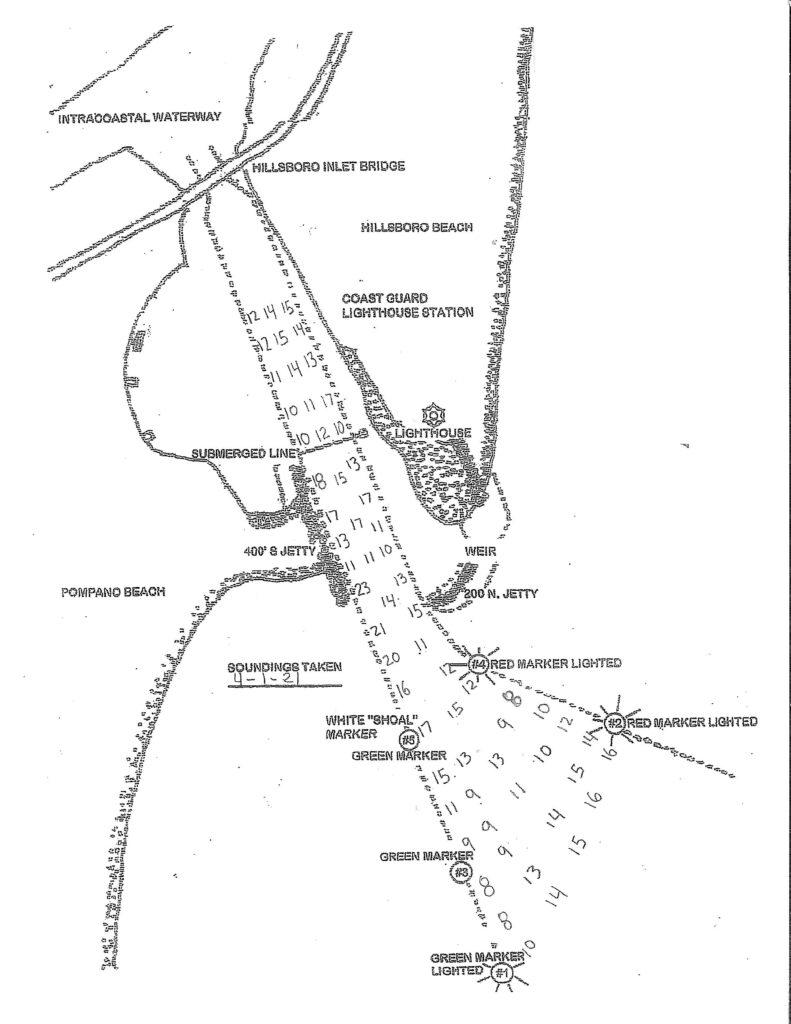 Depth soundings taken from Hillsboro Inlet on April 1, 2021. Do not use for navigation.