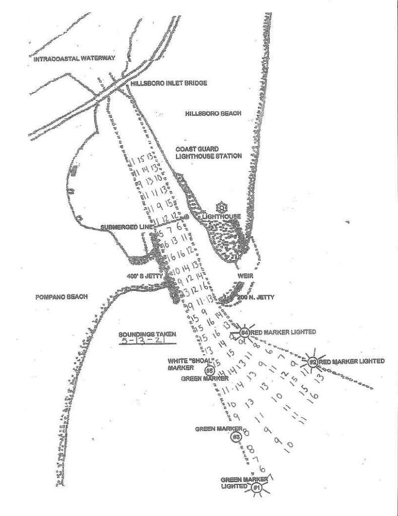 Depth soundings taken from Hillsboro Inlet on May 13, 2021. Do not use for navigation.